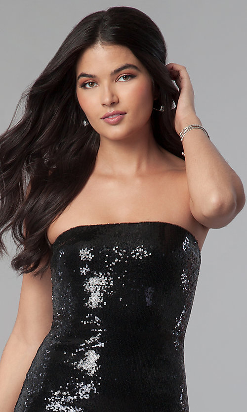 Image of short strapless black sequin mini party dress. Style: BC-GVA62N51 Detail Image 2