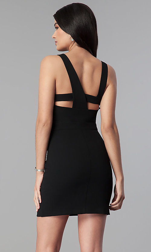 Image of short black wedding-guest party dress. Style: BC-GEF65N66 Back Image