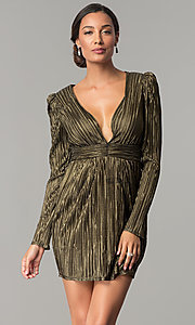 Image of long-sleeve v-neck black and gold short party dress. Style: BC-ETE61N88 Front Image