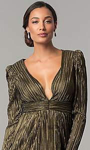 Image of long-sleeve v-neck black and gold short party dress. Style: BC-ETE61N88 Detail Image 2