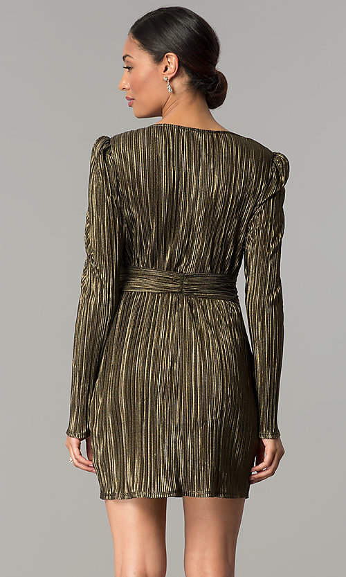 Image of long-sleeve v-neck black and gold short party dress. Style: BC-ETE61N88 Back Image