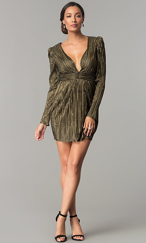 Image of long-sleeve v-neck black and gold short party dress. Style: BC-ETE61N88 Detail Image 1