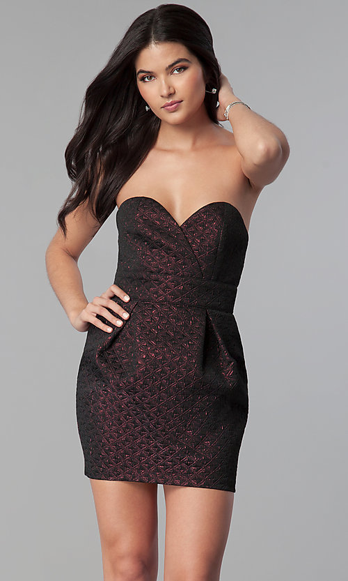 Image of strapless sweetheart short holiday party dress. Style: BC-BPS60N96 Front Image