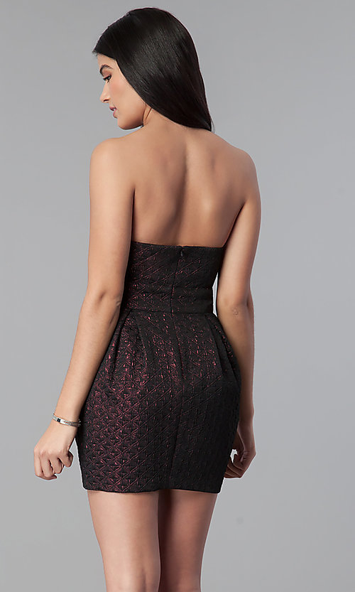 Image of strapless sweetheart short holiday party dress. Style: BC-BPS60N96 Back Image