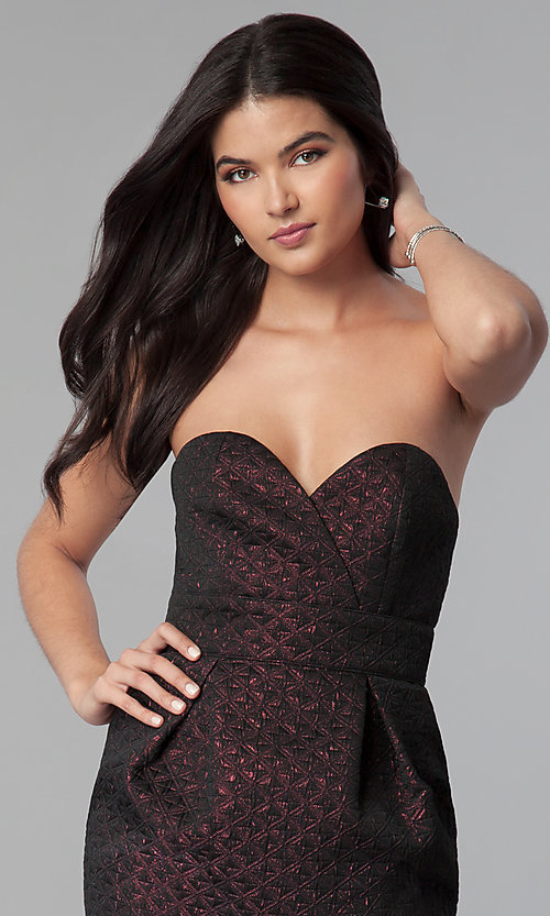 Image of strapless sweetheart short holiday party dress. Style: BC-BPS60N96 Detail Image 2