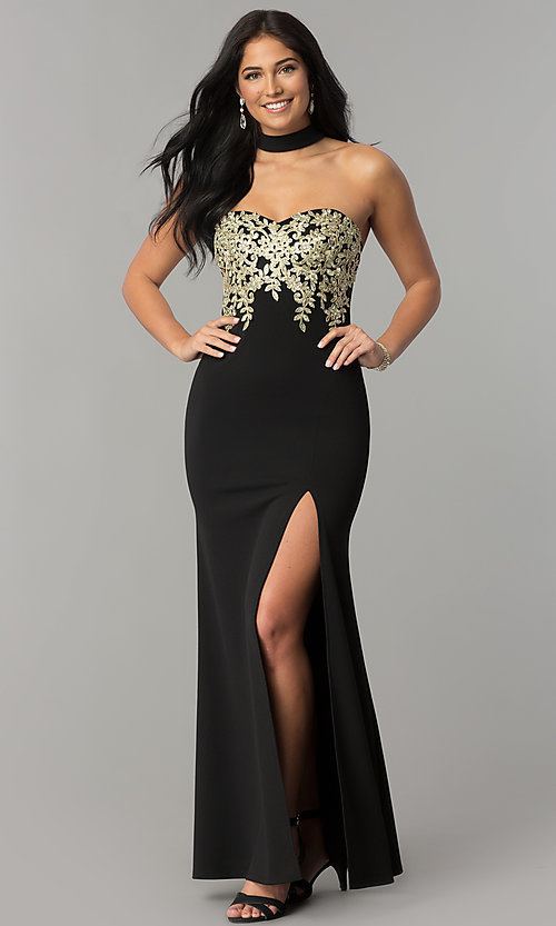 0a018ea86f7 Image of long strapless black prom dress with gold embroidery. Style   MY-4952US1S