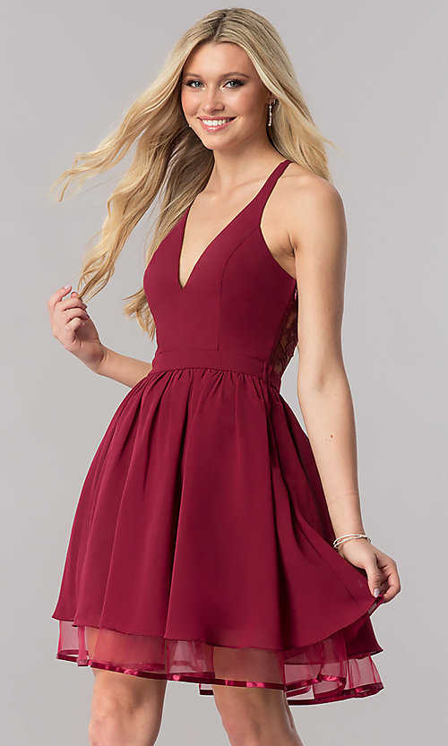 Image of burgundy short lace-back homecoming party dress. Style: LP-24744B Back Image