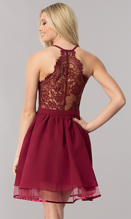 Image of burgundy short lace-back homecoming party dress. Style: LP-24744B Front Image