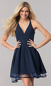 Image of v-neck short lace-back navy homecoming party dress. Style: LP-24744N Back Image