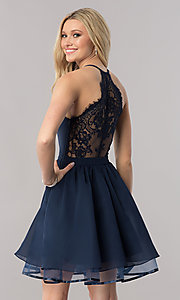 Image of v-neck short lace-back navy homecoming party dress. Style: LP-24744N Front Image