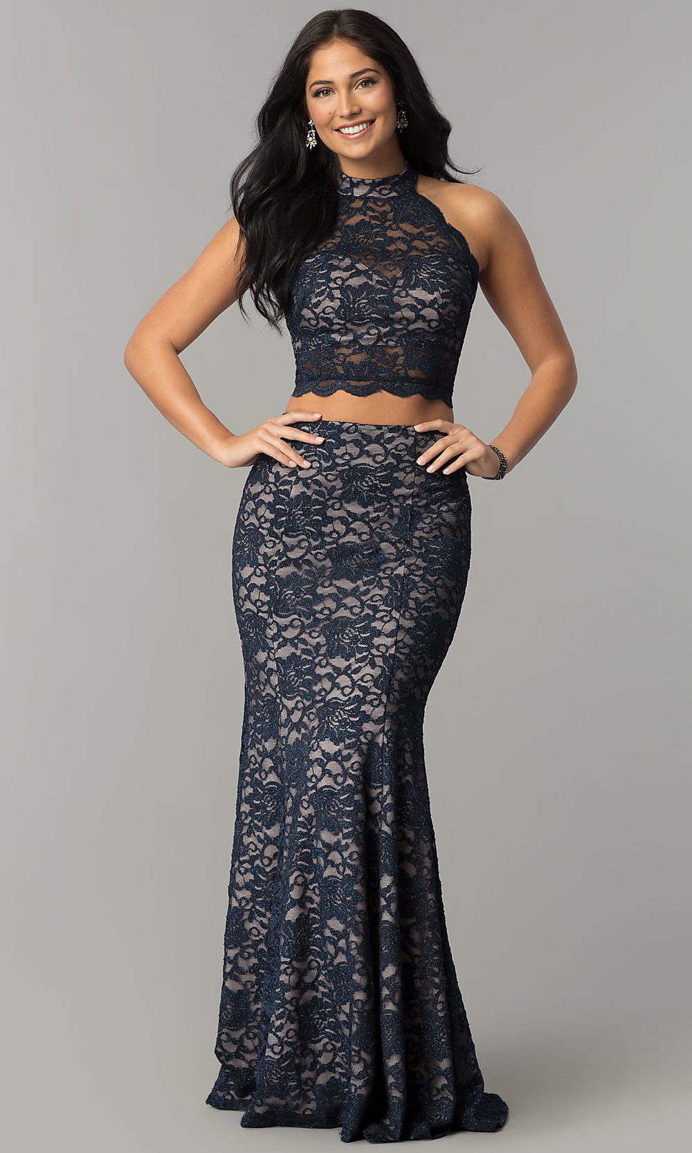 Glitter-Lace Two-Piece Navy Prom Dress - PromGirl