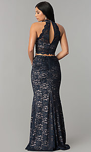 Image of two-piece glitter-lace navy and mauve long prom dress. Style: MY-5029ZJ1S Back Image