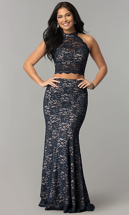 Image of two-piece glitter-lace navy and mauve long prom dress. Style: MY-5029ZJ1S Front Image