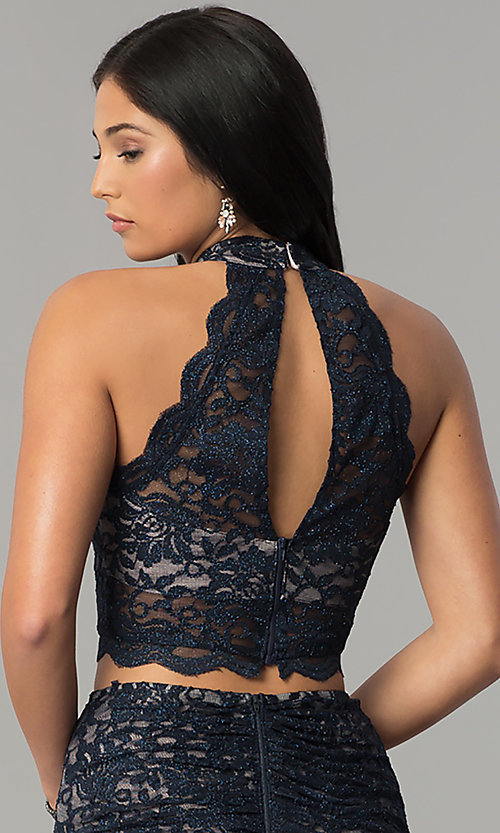 Image of two-piece glitter-lace navy and mauve long prom dress. Style: MY-5029ZJ1S Detail Image 2