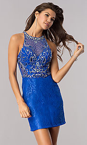 Image of short royal blue lace wedding-guest party dress. Style: BL-PG071-v Front Image