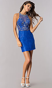 Image of short royal blue lace wedding-guest party dress. Style: BL-PG071-v Detail Image 2