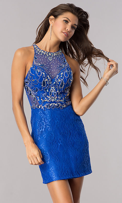 Short Blue Lace WeddingGuest Party Dress PromGirl