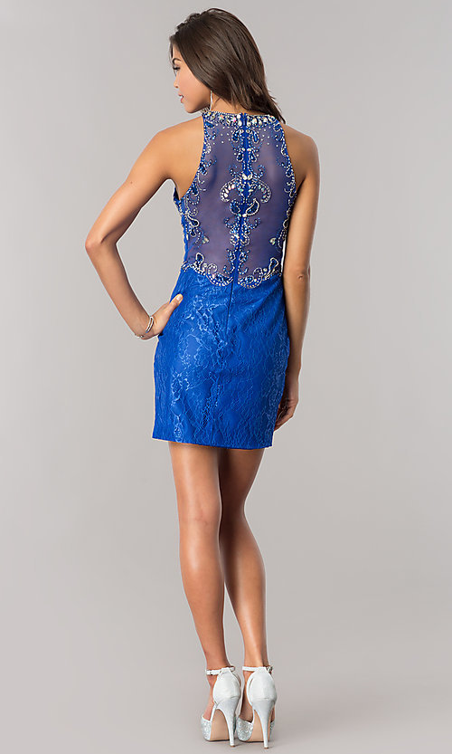 Image of short royal blue lace wedding-guest party dress. Style: BL-PG071-v Detail Image 3