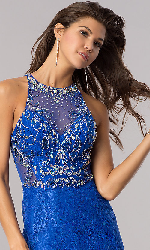Image of short royal blue lace wedding-guest party dress. Style: BL-PG071-v Detail Image 1