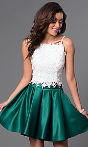 Image of short two-piece satin and lace homecoming dress. Style: DJ-A4524-v Detail Image 1