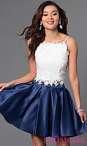 Image of short two-piece satin and lace homecoming dress. Style: DJ-A4524-v Front Image