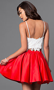 Image of short two-piece satin and lace homecoming dress. Style: DJ-A4524-v Back Image