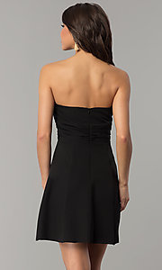 Image of fan-pleated short strapless holiday dress by Jump. Style: JU-10495 Detail Image 3