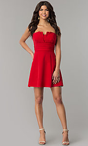 Image of fan-pleated short strapless holiday dress by Jump. Style: JU-10495 Detail Image 1