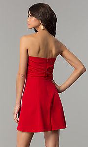 Image of fan-pleated short strapless holiday dress by Jump. Style: JU-10495 Back Image