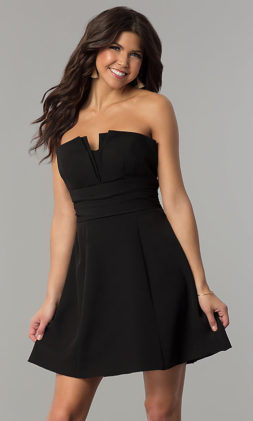 Image of fan-pleated short strapless holiday dress by Jump. Style: JU-10495 Detail Image 2