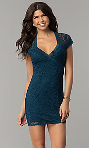 Image of short teal blue lace wedding-guest party dress. Style: JU-10389 Front Image