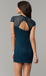 Image of short teal blue lace wedding-guest party dress. Style: JU-10389 Back Image