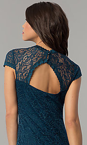 Image of short teal blue lace wedding-guest party dress. Style: JU-10389 Detail Image 2