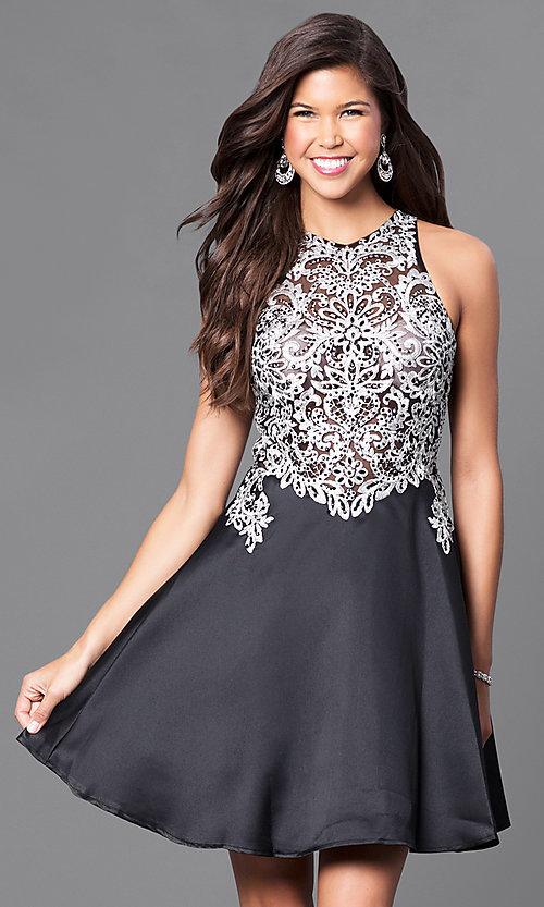 Image of short a-line homecoming dress with lace applique. Style: FB-GS1442-v Front Image