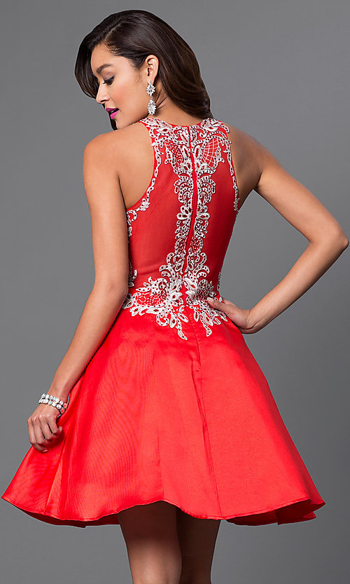 Image of short a-line homecoming dress with lace applique. Style: FB-GS1442-v Back Image