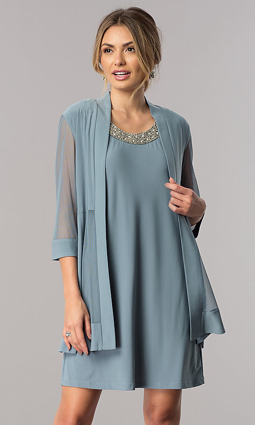 Wedding-Guest Short Dress with Jacket - PromGirl