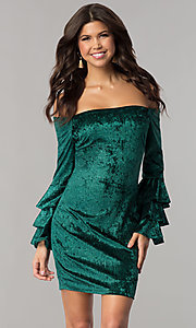 Image of long-sleeve off-the-shoulder velvet party dress. Style: JTM-JD8224 Front Image