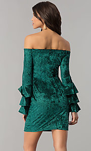 Image of long-sleeve off-the-shoulder velvet party dress. Style: JTM-JD8224 Back Image