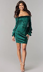 Image of long-sleeve off-the-shoulder velvet party dress. Style: JTM-JD8224 Detail Image 2