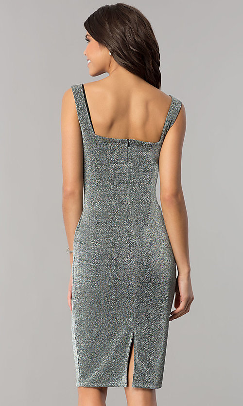 Image of knee-length metallic silver cocktail party dress. Style: JTM-JD8244 Back Image