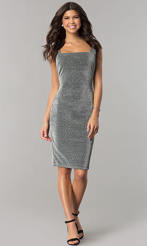 Image of knee-length metallic silver cocktail party dress. Style: JTM-JD8244 Detail Image 2