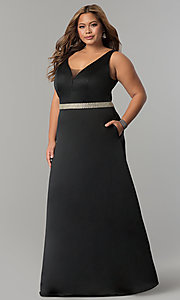 V-Neck Plus-Size Prom Dress with Pockets