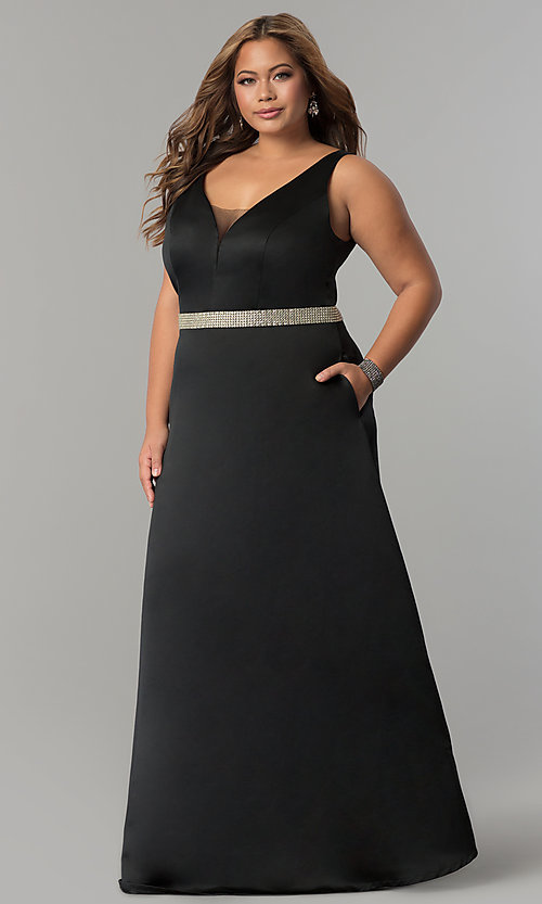 Plus-Size V-Neck Prom Dress with Pockets - PromGirl