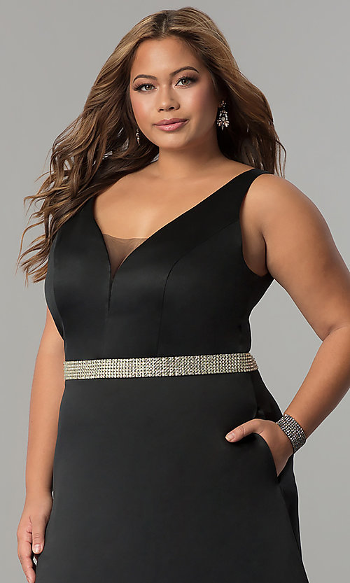Image of v-neck plus-size prom dress with pockets. Style: SC-CE1815 Detail Image 1