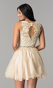 Image of short lace and tulle homecoming dress with beading. Style: FB-GS2375-v Detail Image 3