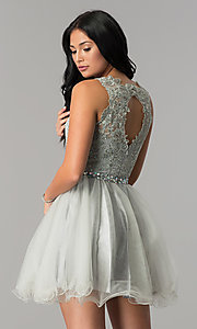 Image of short lace and tulle homecoming dress with beading. Style: FB-GS2375-v Back Image
