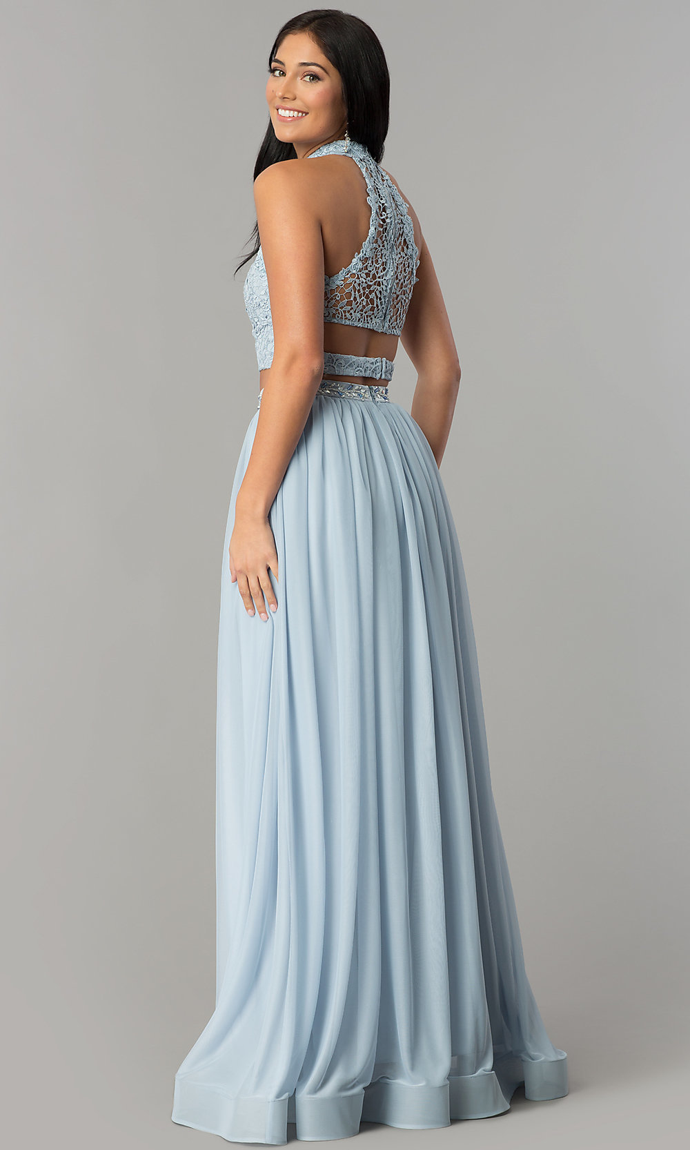 Lace-Top Blue Two-Piece Long Prom Dress - PromGirl