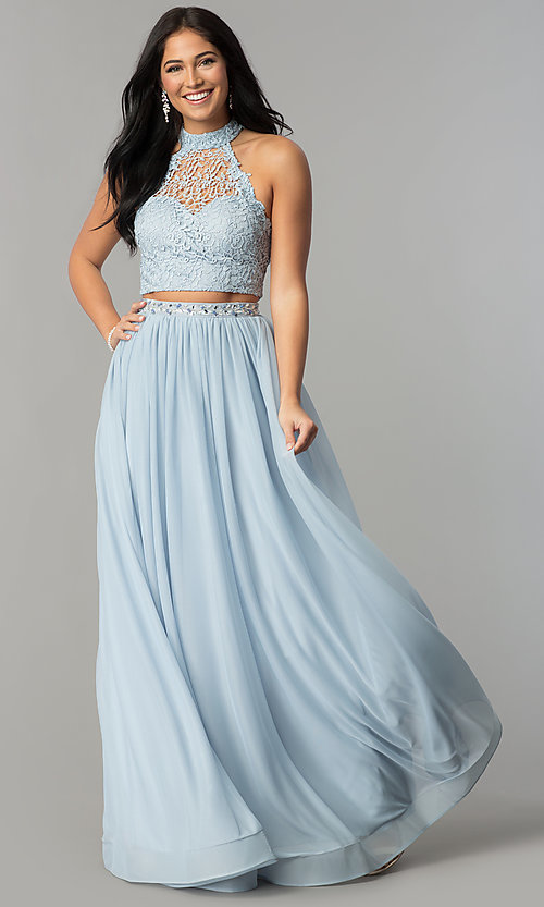 Image of fairy blue high-neck two-piece prom dress with lace. Style: MY-5007YJ1S Front Image