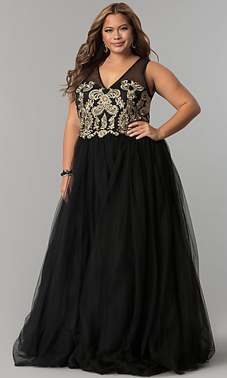 Embroidered V-Neck Long Plus Size Prom Dress