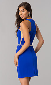 Image of short sleeveless homecoming dress with jeweled waist. Style: DQ-2065R Front Image